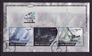 New Zealand-Sc#1827a-used sheet-America's Cup Yacht Races-Sa