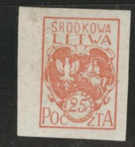 CENTRAL LITHUANIA  Scott 1 MH* 1921