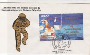 mexico 1985 communications satelite  stamps cover ref 20287