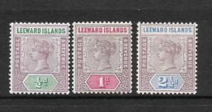 LEEWARD ISLANDS 1890 1/2d 1d  2 1/2d   QV   MH   SG 1/3