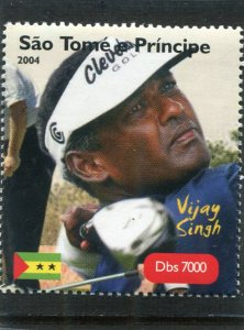 Sao Tome & principe 2004 GOLF Vijay Singh Fijian1v Perforated Mint (NH)