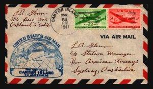 US 1947 FFC Canton Island to Australia (II) - Z17588