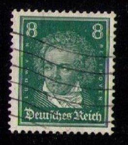 Germany, 8pf Scott #354 Used Blue Grn F-VF