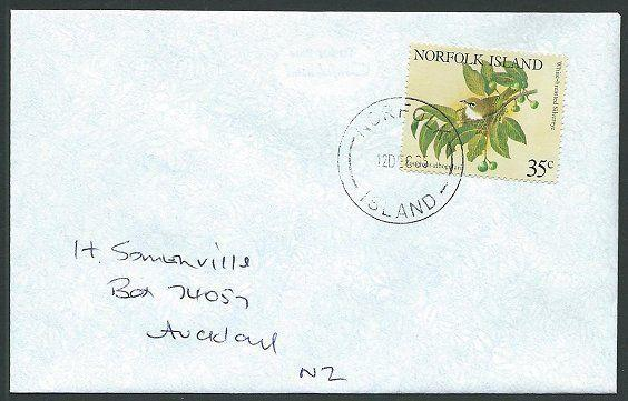 NORFOLK IS 1995 cover to New Zealand - 35c Birds...........................42804