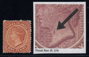 Turks Islands, SG 49a, MNG (no gum), Throat Flaw variety
