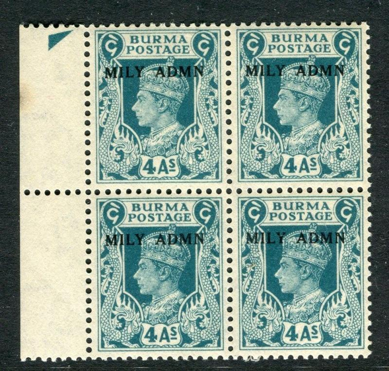 BURMA;  Early GVI MILY ADMN. Optd issue Mint MNH unmounted 4a. Margin BLOCK