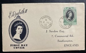 1953 Kingstown St Vincent Coronation first day cover FDC Queen Elizabeth II QE2