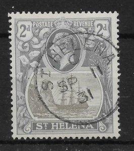 ST.HELENA SG100c 1923 2d GREY & SLATE CLEFT ROCK VAR USED