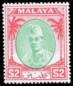 MALAYA  Kelantan Sc #63  $2.00 Very Light Hinge - WHITE PAPER