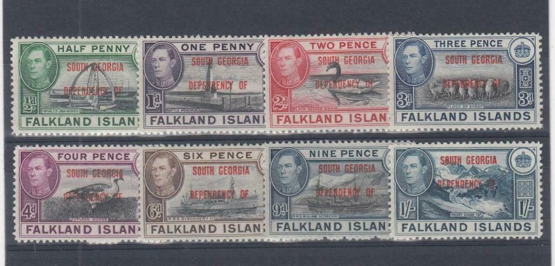 FI-SOUTH GEORGIA (MM116) # 3L1-3L8 VF-MH VARp,sh FALKLAND ISL. O/PRINTS CV $29