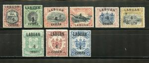 LABUAN  SCOTT#110/18 SG#129/37 4c SURCHARGES ON 5c TO $1 COMPLETE  MINT HINGED