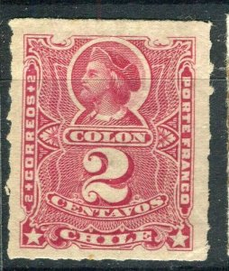 CHILE; 1878 early Columbus rouletted issue Mint hinged Shade of 2c. value