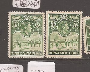 Turks and Caicos KGVI 5/- Salt SG 204,204a MOG (3avi)