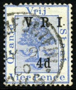 ORANGE FREE STATE 1900 V.R.I. 4d. on 4d. Ultramarine SG 107 VFU
