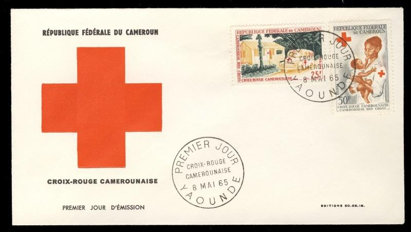 CAMEROUN / CAMEROONS  - 1965 25fr & 50fr CROIX ROUGE / RED CROSS FDC Mi.425/6