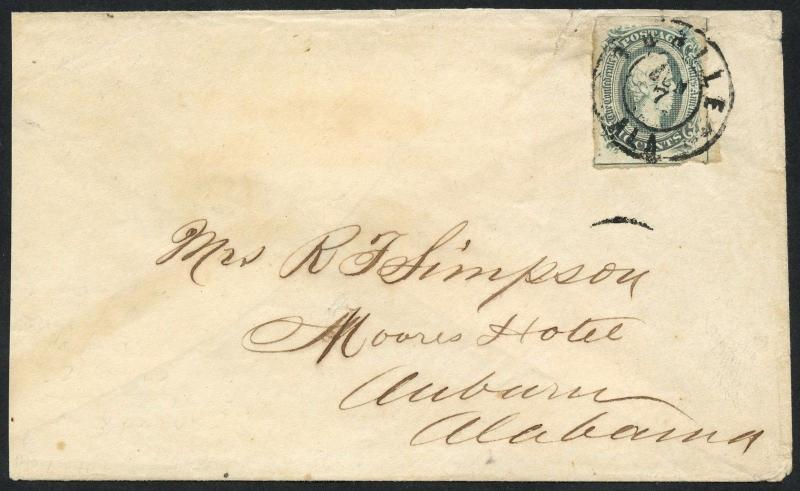 CSA #10 VF ON COVER TO AUBURN, ALABAMA W/ PSE CERT (SOME FAULT ON STAMP) WLM3420