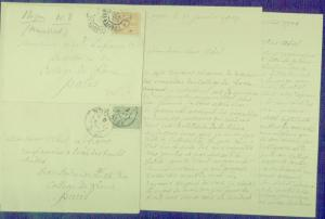 France 1903 & 1904 - Letters and Two Stamped Envelopes - Fine And Fresh
