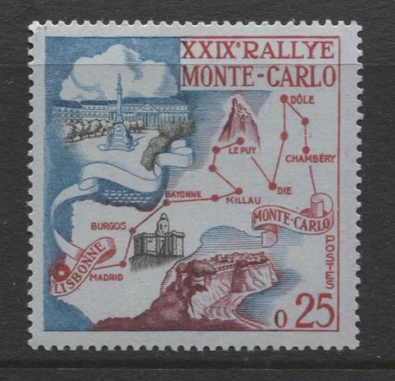 Monaco - Scott 460 - Monte Carlo Rally 29th -1960 - MLH - Single 25c Stamp