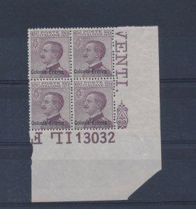 1928-29, N°123 - Michetti Soprastampato Colonia Eritrea, Corner Di Sheet C