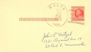 United States Texas Malta 1955 4f-bar  1896-1955  Postal Card  Philatelic.