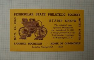 1939 PS PS Stamp Show Lansing MI Home of Oldsmobile Event Souvenir Ad