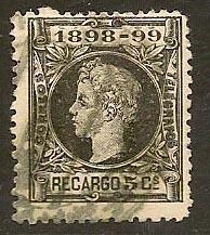 SPAIN (ESPANA) STAMP VFU 1898-99 RECARGO  5 CENTAVOS #CU-8