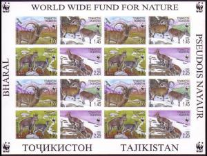 Tajikistan WWF Bharal Imperforated Sheetlet of 4 sets