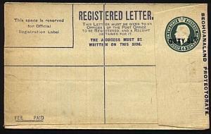 BECHUANALAND GV GB registered envelope optd DUTY 5½d, unused...............18867
