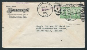 1942 Hotel Barton - Indianapolis, Indiana - Returned for Postage