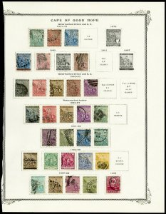 Cape of Good Hope Stamps Lot of 30 from 1800s on Album Page