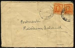 PITCAIRN 1953 inwards cover from New Zealand with cds on front.............19518