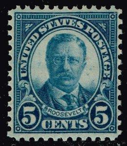 US STAMP #637 – 1927 5c Theodore Roosevelt, dark blue MNH/OG