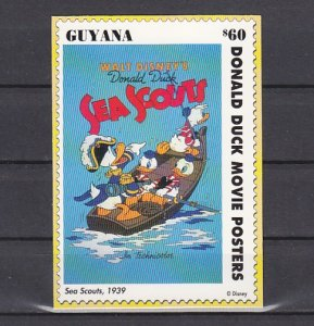 Guyana, Scott cat. 2769c only. Sea Scouts, Disney Poster on a Card. ^