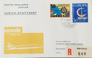 Swissair Liechtenstein 1967 First Flight Stuggart Europa Stamp