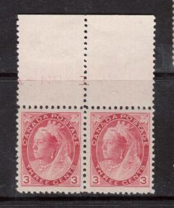 Canada #78 XF/NH Plate #1 Margin Pair