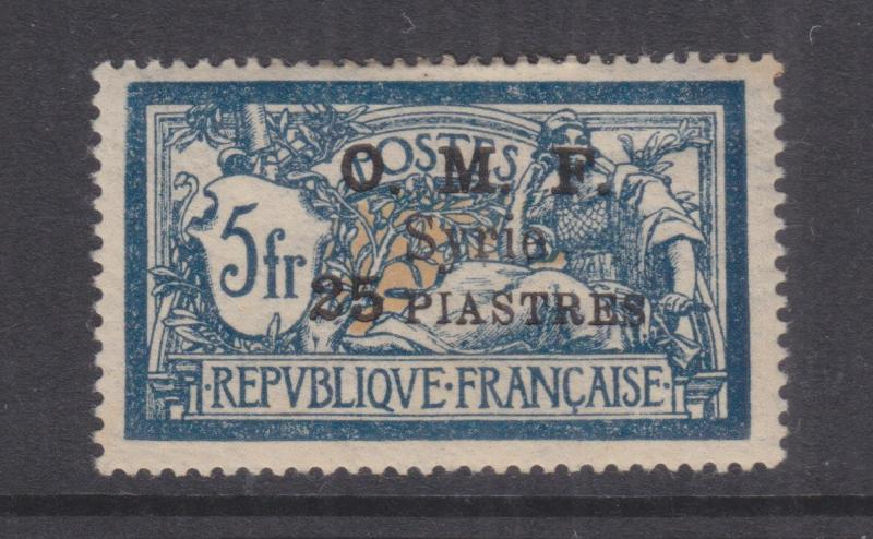 SYRIA, 1921 (October) OMF Syrie 25pi. on 5f. Blue & Buff, lhm.