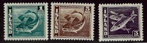Iceland SC#217a, 218a & 219c MNH VF..Fill a Key Spot!!