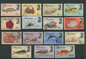 STAMP STATION PERTH Mauritius #339-356 Fish & Shell Issue Used Short Set