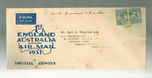 1931 Darwin Australia England Roessler First Flight Cover FFC  Imperial Airways