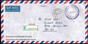 NEW HEBRIDES VANUATU 1991 Offical registered cover TANNA to Port Vila.....33642