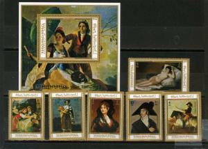 MANAMA 1972 PAINTINGS BY GOYA SET OF 6 STAMPS & S/S PERF. MNH