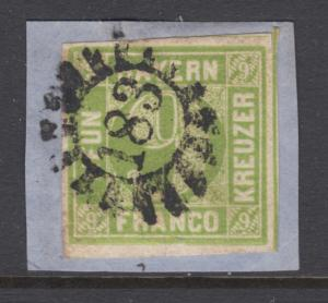 Bavaria Sc 6 used. 1850-58 9kr yellow green Numeral, 183 closed Millwheel cancel