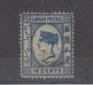 Labuan QV 1881 16c Blue SG10 VFU JK1066