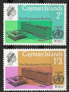 Cayman Is. # 184-85 WHO Headquarters    (2)    Mint NH