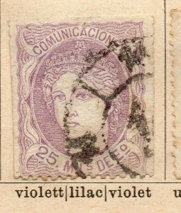 Spain 1870 Early Issue Fine Used 25m. NW-16564