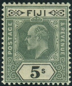 FIJI-1903 5/- Green & Black.  A mounted mint example Sg 113