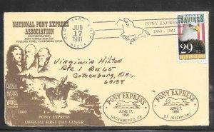 Just Fun Cover #2534 FDC Sacramento - St Joseph Pony Express founders (my470)