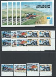 Antigua MNH Set 934-8 trains Lot of 5, 2018 CV $80.00