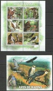 BC582 2011 GUINEA-BISSAU FAUNA BIRDS OF PREY AVES DE RAPINA KB+BL MNH