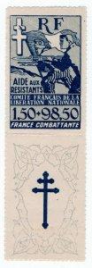 (I.B) France War Cinderella : French Resistance Fund-Raising Stamp 100Fr